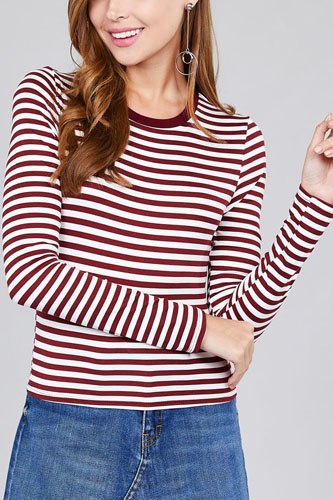 Ladies fashion long sleeve crew neck striped dty brushed top-id.CC36349a