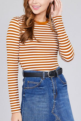 Ladies fashion long sleeve crew neck striped dty brushed top-id.CC36349b