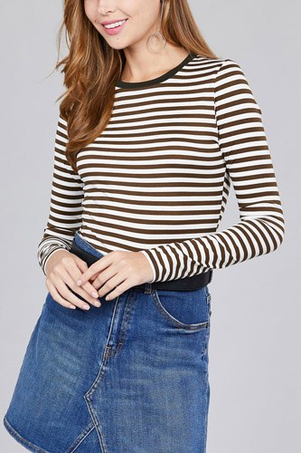 Ladies fashion long sleeve crew neck striped dty brushed top-id.CC36349d
