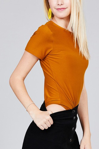 Ladies fashion short sleeve crew neck dty brushed bodysuit-id.CC36350b