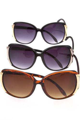 Oversize metal accent fashion sunglasses-id.CC36352