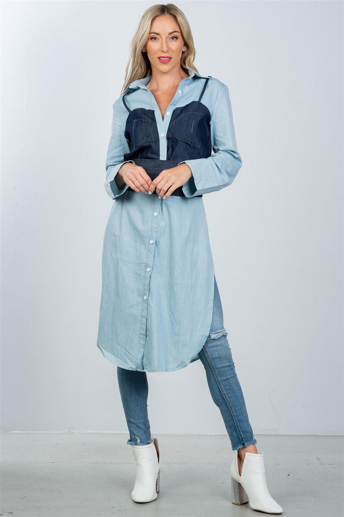 7f68eb1f1ae Ladies fashion denim button down bleach-dye corset shirt -id.CC36361