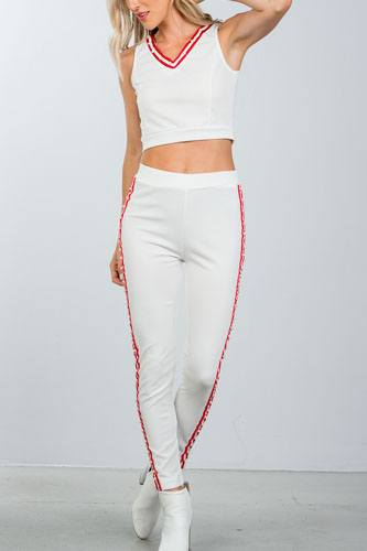 Ladies fashion  faux pearl accent crop top with pants set-id.CC36364