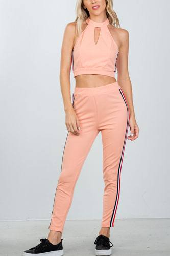 Ladies fashion crop top and matching pants with side contrast stripe-id.CC36365