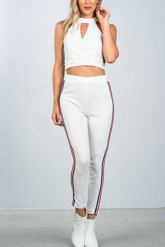 Ladies fashion crop top and matching pants with side contrast stripe-id.CC36365a