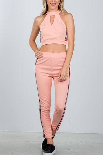 Ladies fashion crop top and matching pants with side contrast stripe-id.CC36365b