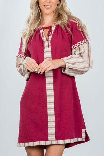 Ladies fashion bohemian stripe contrast sleeve mini dress-id.CC36366
