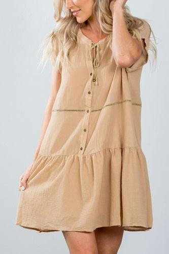 Ladies fashion taupe ladder stitch trim peasant mini dress-id.CC36367