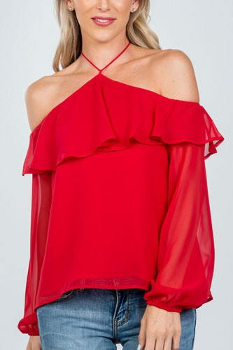 Ladies fashion halter cold shoulder top-id.CC36369a
