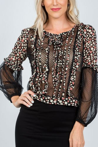 Ladies fashion polka dots ruffle sheer mesh top-id.CC36370