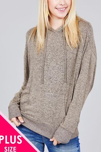 Ladies fashion plus size long sleeve hoodie w/drawstring brushed hacci knit top-id.CC36373b