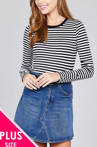 Ladies fashion plus size long sleeve crew neck striped dty brushed top-id.CC36375