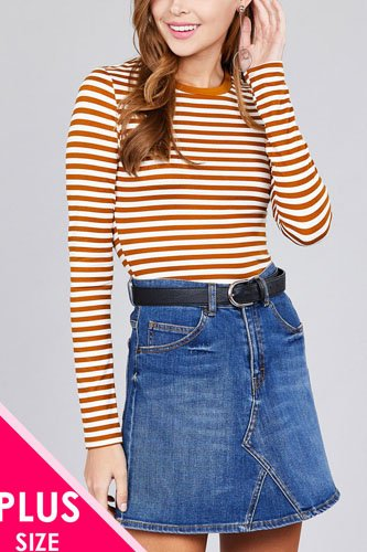 Ladies fashion plus size long sleeve crew neck striped dty brushed top-id.CC36375b