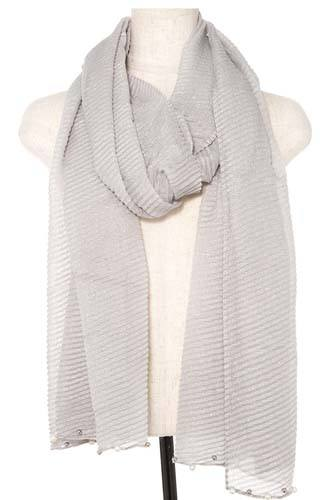 Pleated pearl and bead accent oblong scarf-id.CC36381