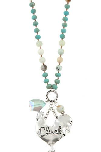 Cluck chicken pendant beaded necklace set-id.CC36392