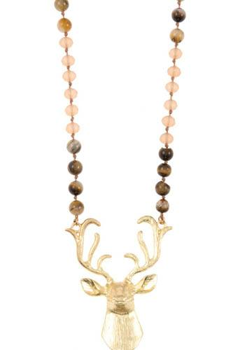 Reindeer etched pendant beaded necklace set-id.CC36393