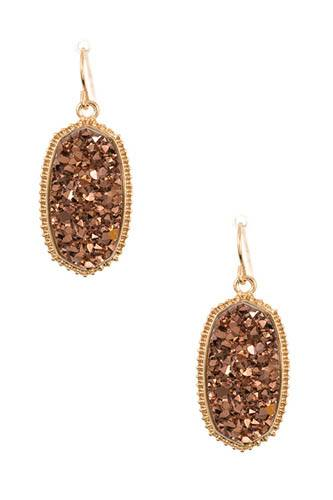 Faux cracked oval dotted framed dangle earring-id.CC36396