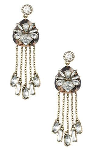 Crystal floral framed drop chain dangle earring-id.CC36398