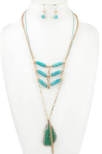 Stone layered link gem long necklace set-id.CC36417