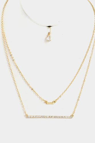Double layered beaded bar pendant necklace set-id.CC36418