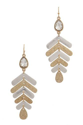 Rhinestone textured metal drop earring -id.CC36448