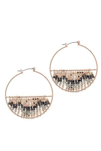Multi metal beaded latch hoop earring-id.CC36449