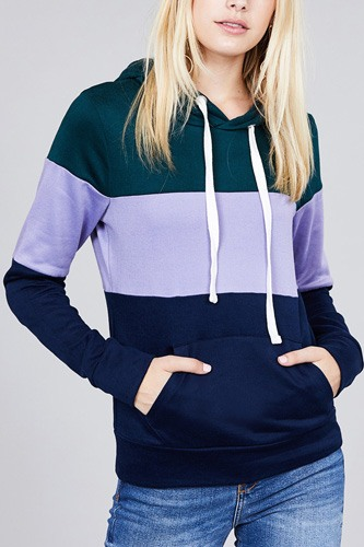 Long sleeve hoodie front kangaroo pocket color block pattern brushed french terry top-id.cc36470b