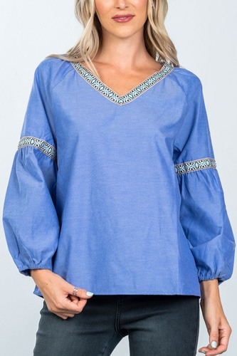 Boho drop shoulder embroidery blouse-id.cc36475a