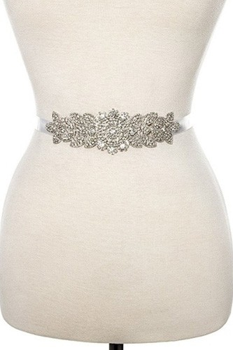 Rhinestone floral detailed slash belt handmade crystal belt-id.cc36483
