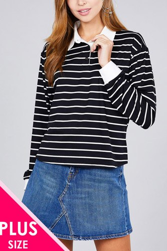Ladies fashion plus size long sleeve striped dty brushed shirts-id.cc36491
