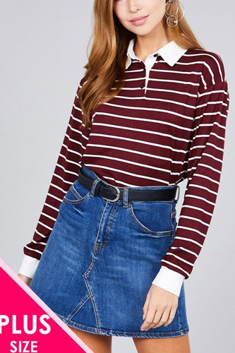 Ladies fashion plus size long sleeve striped dty brushed shirts-id.cc36491a