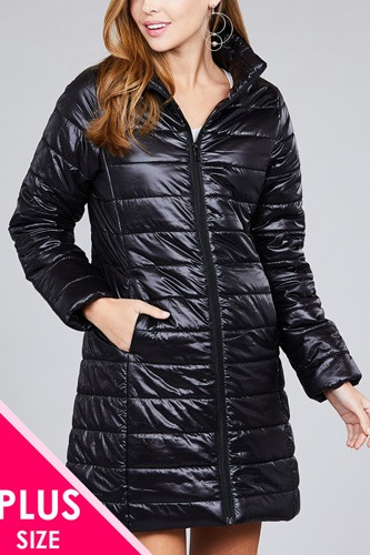 Ladies fashion plus size long sleeve quilted long padding jacket-id.cc36493