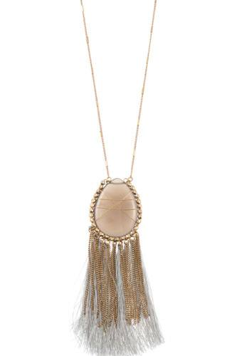 Elognated wrapped gem tassel pendant necklace-id.cc36516