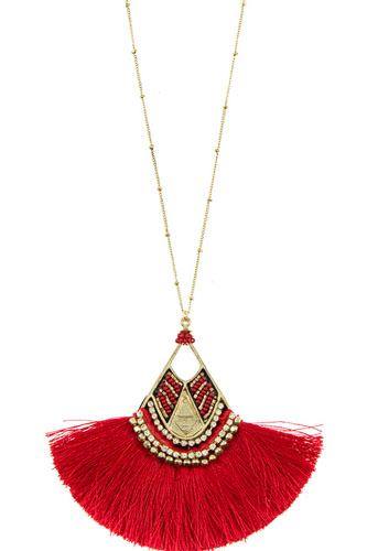 Mix jewel bead fringe tassel fan pendant long necklace-id.cc36520