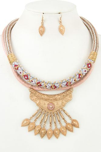 Multi cord fringe ornate bib necklace set-id.cc36525
