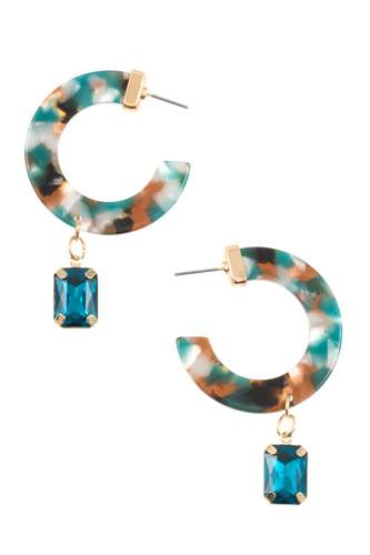 Semi circle resin drop gem earring-id.cc36526
