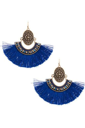 Boho etched tassel fan earring-id.cc36535