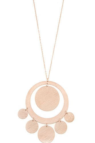 Textured disk link pendant long necklace-id.cc36551