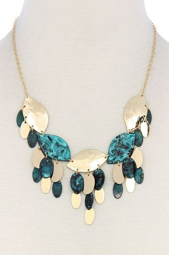 Multi leaf pattern chunky necklace-id.cc36560