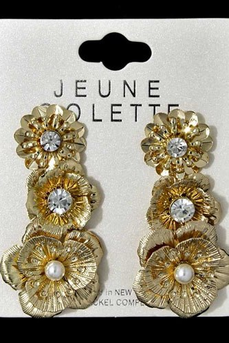 Multi metal flower earring set-id.cc36584
