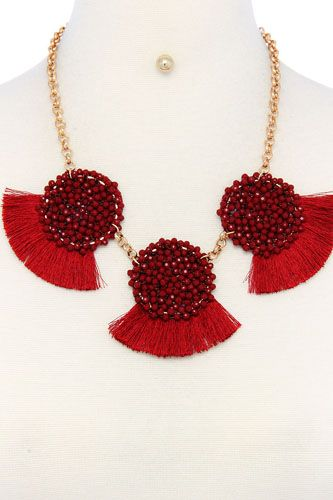 Multi pattern fashion necklace and earring set-id.cc36586