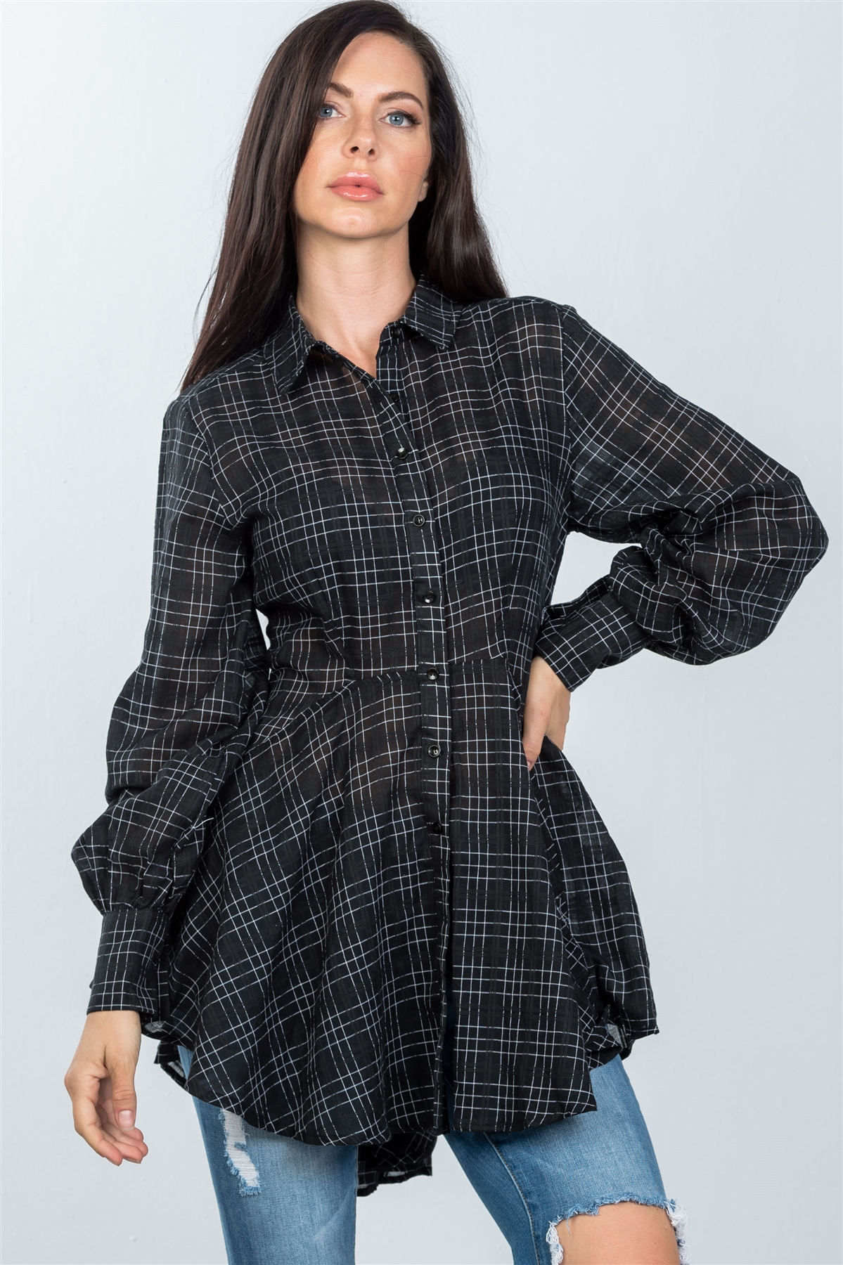 c2ae3508a Ladies fashion black graph check print hi-low plume boho tunic shirt-id ...