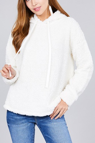 Ladies fashion long sleeve hoodie drawstring faux fur top-id.cc36596d
