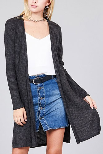 Ladies fashion long sleeve open front side slit tunic length brushed waffle cardigan-id.cc36597