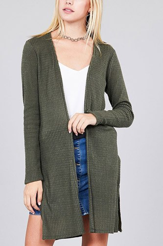 Ladies fashion long sleeve open front side slit tunic length brushed waffle cardigan-id.cc36597b