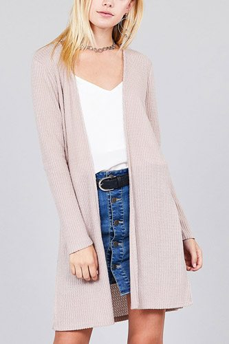Ladies fashion long sleeve open front side slit tunic length brushed waffle cardigan-id.cc36597c