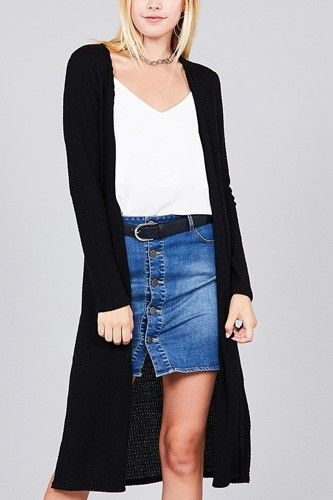 98027fa02b Ladies fashion long sleeve open front side slit midi length brushed waffle  cardigan-id.