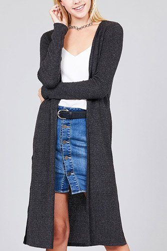 Ladies fashion long sleeve open front side slit midi length brushed waffle cardigan-id.cc36598b