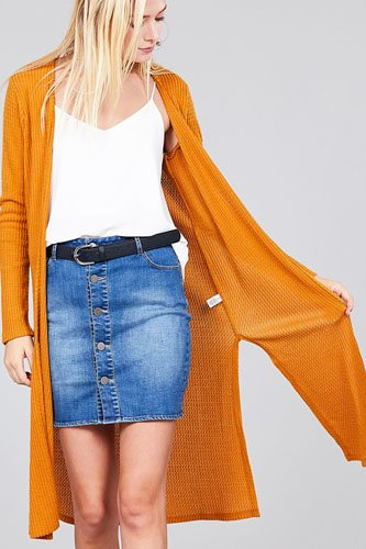 Ladies fashion long sleeve open front side slit midi length brushed waffle cardigan-id.cc36598c