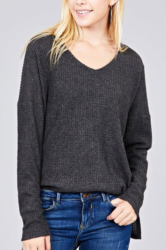 Ladies fashion long dolmen sleeve v-neck brushed waffle knit top-id.cc36599b